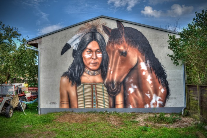 Wandmalerei am Reiterhof